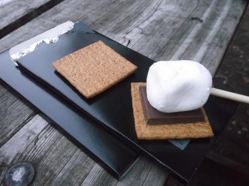 Plonk marshmallow on chocolate.