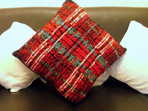 Knitted Tartan Cushion